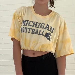 Restyled Michigan Football Oversized Crop Top